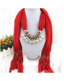 Elegant Artificial Pearls Tassels Fashion Scarf Necklace - Red