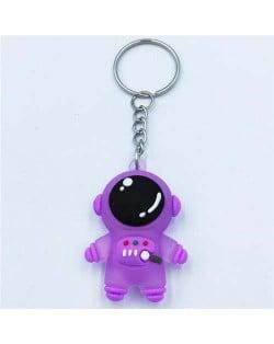 Popular Spaceman Design Handbag Pendant Cartoon Astronaut Key Chain - Purple