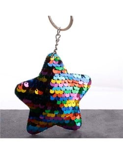 Minimalist Bling Sequins Five-pointed Star Wholesale Key Chain - Multicolor