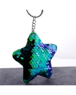 Minimalist Bling Sequins Five-pointed Star Wholesale Key Chain - Blue