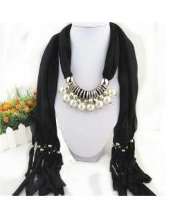 Elegant Artificial Pearls Tassels Fashion Scarf Necklace - Black