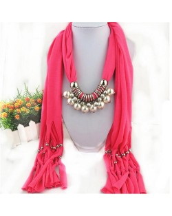 Elegant Artificial Pearls Tassels Fashion Scarf Necklace - Purple