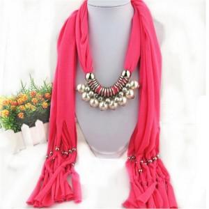 Elegant Artificial Pearls Tassels Fashion Scarf Necklace - Rose
