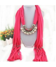 Elegant Artificial Pearls Tassels Fashion Scarf Necklace - Rose