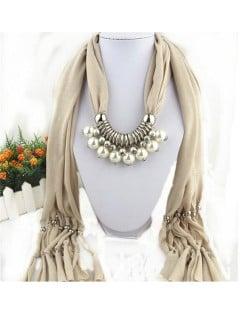 Elegant Artificial Pearls Tassels Fashion Scarf Necklace - Beige