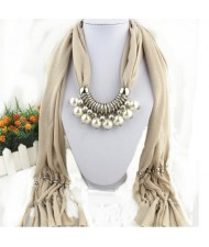 Elegant Artificial Pearls Tassels Fashion Scarf Necklace - Beige