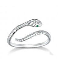 Cubic Zirconia Inlaid Green Eyes Vivid Snake Modeling Wholesale 925 Sterling Silver Ring - Silver