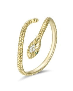 Cubic Zirconia Inlaid Green Eyes Vivid Snake Modeling Wholesale 925 Sterling Silver Ring - Golden