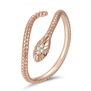 Cubic Zirconia Inlaid Green Eyes Vivid Snake Modeling Wholesale 925 Sterling Silver Ring - Rose Gold