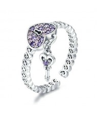 Wholesale 925 Sterling Silver Jewelry Amethyst Cubic Zirconia Heart Shape Lock and Key Pendant Ring
