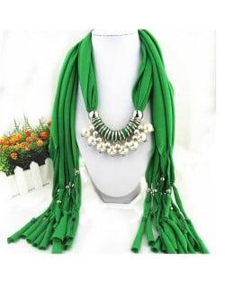 Elegant Artificial Pearls Tassels Fashion Scarf Necklace - Brown