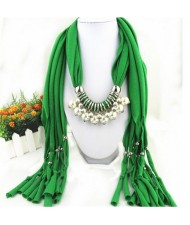 Elegant Artificial Pearls Tassels Fashion Scarf Necklace - Green