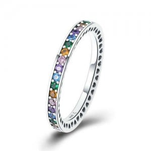 Side Hollow-out Design Colorful Cubic Zirconia Embeded Wholesale 925 Sterling Silver Jewelry Women Ring