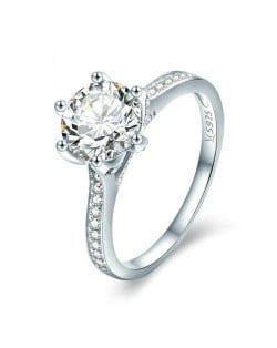 Classic Six Claws Cubic Zirconia Shining Wholesale 925 Sterling Silver Weding Ring