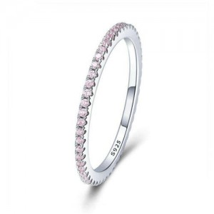 Wholesale 925 Sterling Silver Jewelry Pink Cubic Zirconia Surrounded Minimalist Women Ring