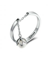 Unique Design Pearl Chain Pendant Open-end Wholesale 925 Sterling Silver Women Ring