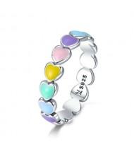 Lovely Candy Color Heart to Heart Design Wholesale 925 Sterling Silver Women Ring