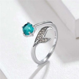 Romantic Mermaid Tail with Blue Gem Open-end Wholesale 925 Sterling Silver Women Ring