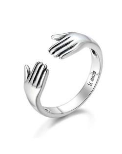 Minimalist Hands Hug Design Unique Fashion Wholesale 925 Sterling Silver Jewelry Women Ring