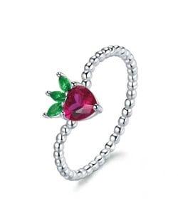 Cubic Zirconia Cute Strawberry Fruit Modeling Wholesale 925 Sterling Silver Women Ring