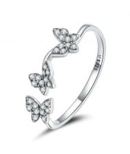 Cubic Zirconia Inlaid Butteryfly Modeling Wholesale 925 Sterling Silver Ring