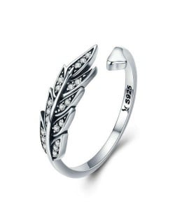 Cubic Zirconia Leaves Design Wholesale 925 Sterling Silver Jewelry Vintage Open-end Ring