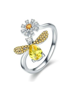Shining Cubic Zirconia Embeded Yellow Bee with Flower Wholesale 925 Sterling Silver Ring