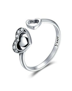 Hollow-out Twin Hearts Design Vintage Color Wholesale 925 Sterling Silver Open-end Women Ring