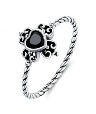 Black Cubic Zirconia Heart Vintage Wholesale 925 Sterling Silver Ring