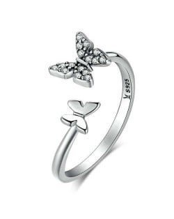 Cubic Zirconia Butterfly Wholesale 925 Sterling Silver Open-end Ring - Silver