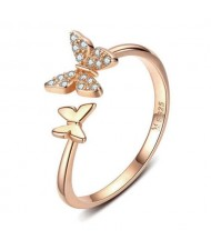 Cubic Zirconia Butterfly Wholesale 925 Sterling Silver Open-end Ring - Rose Gold