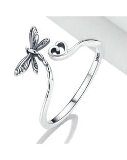 Dragonfly with Heart Open-end Wholesale 925 Sterling Silver Ring
