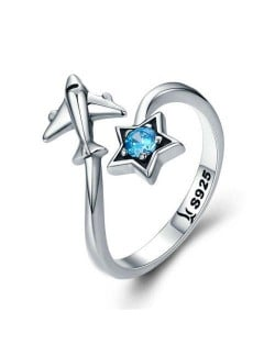 Sapphire Insearted Five-pointed Star and Airplane Combo Open-end Wholesale 925 Sterling Silver Ring
