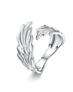 Bold Fashion Angel Wings Design Wholesale 925 Sterling Silver Women Open-end Ring