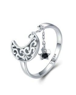 Hollow-out Moon and Star Pendant Wholesale 925 Sterling Silver Open-end Ring