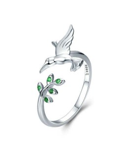 Hummingbird and Leaves Animal Series Wholesale 925 Sterling Silver Jewelry Ring