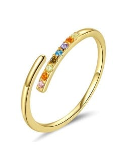 Colorful Cubic Zirconia Embellished Gold Plated Minimalist Wholesale 925 Sterling Silver Ring