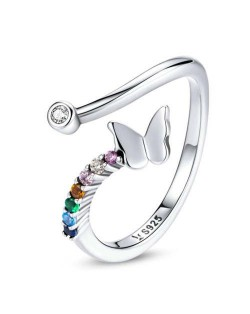 Colorful Cubic Zirconia Embeded Butterfly Wholesale 925 Sterling Silver Ring