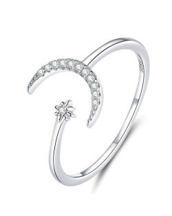Moon and Star Design Wholesale 925 Sterling Silver Open-end Women Ring