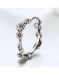 Vintage Color Wholesale 925 Sterling Silver Jewelry Orange Cubic Zirconia Inlaid Little Daisy Ring