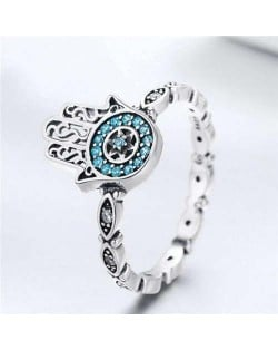 Blue Cubic Zirconia Inserted Hand of Fatima Wholesale 925 Sterling Silver Women Ring