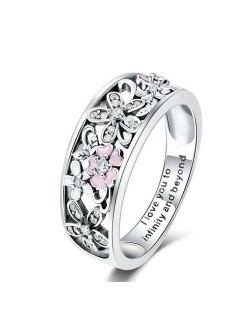 Shining Cubic Zirconia Hollow-out Flower Cluster Wholesale Vintage 925 Sterling Silver Ring