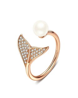 Elegant Mermaid Tail and Pearl Combo Open-end Wholesale 925 Sterling Silver Women Ring - Golden