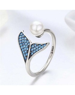 Elegant Mermaid Tail and Pearl Combo Open-end Wholesale 925 Sterling Silver Women Ring - Silver