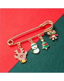 Christmas Snowman and Christmas Tree Multiple Elements Combo Design Women Oil-spot Glazed Brooch - Design 1