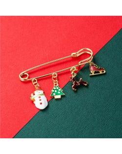 Christmas Snowman and Christmas Tree Multiple Elements Combo Design Women Oil-spot Glazed Brooch - Design 2