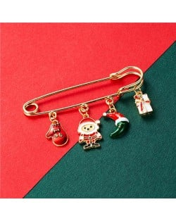 Christmas Snowman and Christmas Tree Multiple Elements Combo Design Women Oil-spot Glazed Brooch - Design 3