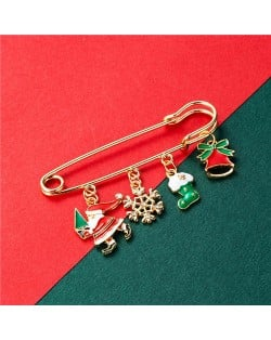 Christmas Snowman and Christmas Tree Multiple Elements Combo Design Women Oil-spot Glazed Brooch - Design 5