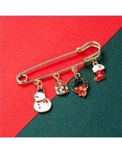 Christmas Snowman and Christmas Tree Multiple Elements Combo Design Women Oil-spot Glazed Brooch - Design 6