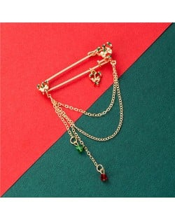 Colorful Heart Bow-knot Tassel Design Christmas Fashion Wholesale Jewelry Women Brooch